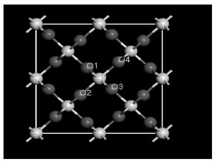Ti8O16 晶体结构模型示意图